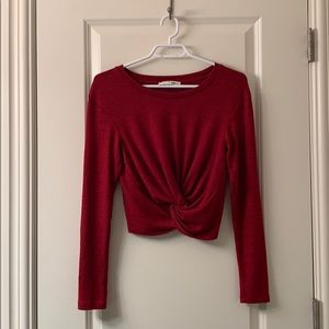 Aritzia Wilfred Free red crop knot top